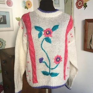 Vintage Floral Sweater, 1980s Oversized Hand Knit